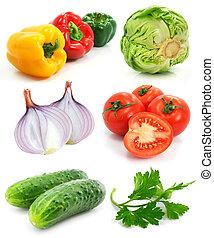 colección, de, maduro, fruits, vegetales, aislado