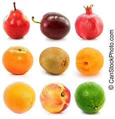 colección, de, maduro, fruta, aislado