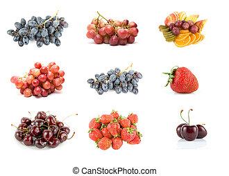 colección, de, maduro, fruta