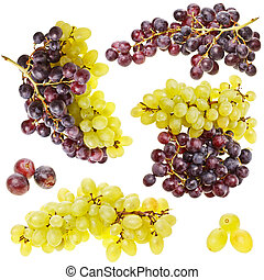 colección, de, maduro, fruta, uva, grupo