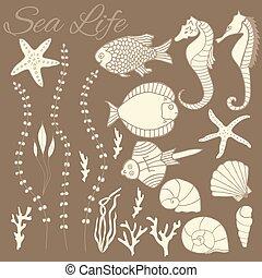 colección, de, mano, dibujado, peces
