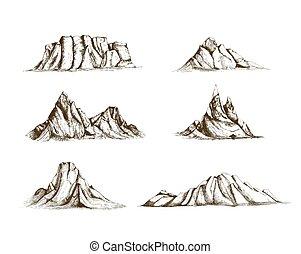 colección, de, montañas, mano, dibujado, en, vendimia, style., conjunto, de, hermoso, retro, dibujos, de, diferente, despeñaderos de roca, y, picos, aislado, blanco, fondo., vector, illustration.