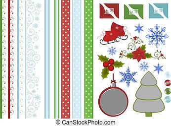 colección, de, navidad, álbum de recortes, decors