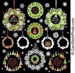 colección, de, navidad, decorativo, papel, guirnalda