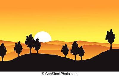 colección, de, paisaje de la naturaleza, con, árbol, en, colina