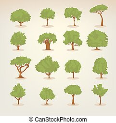 colección, de, plano, árboles