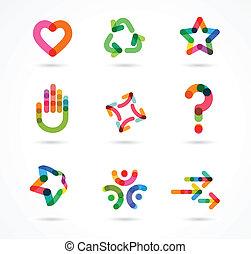 colección, de, resumen, colorido, iconos del negocio