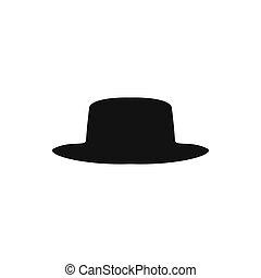 colección, de, retro, sombreros, silhouette., sombrero...