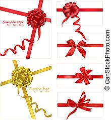 colección, de, rojo, arcos, con, cintas