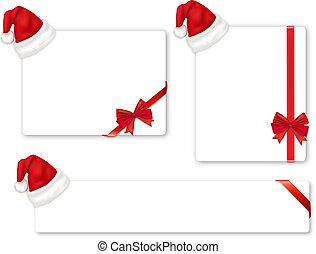 colección, de, rojo, arcos, y, sombreros