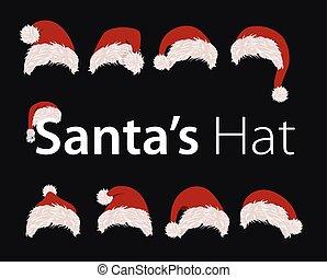 colección, de, rojo, santa, hats., vector, illustration., año nuevo, accesorio, en, negro, fondo., aislado, vacaciones invierno, disfraz, element., feliz navidad, mascarada, clothing.