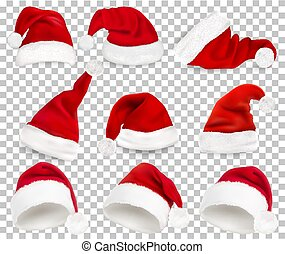 colección, de, rojo, santa, sombreros, en, transparente, fondo., vector.