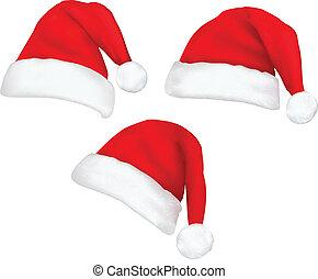 colección, de, rojo, santa, sombreros