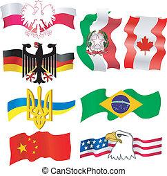 colección, de, símbolos, de, países