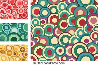 colección, de, seamless, vector, retro, patrones, con, círculos