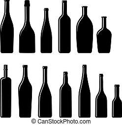 colección, de, silueta, botellas