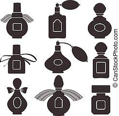 colección, de, siluetas, de, botellas, para, perfume., vector, illustration.