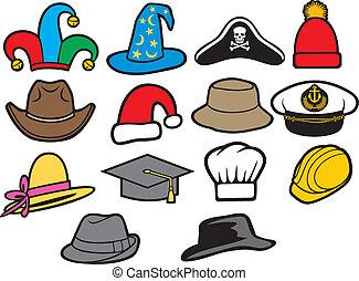 colección, de, sombreros