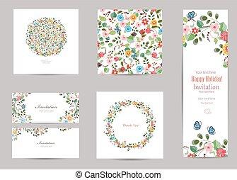 colección, de, tarjetas de felicitación, con, lindo, flora,...