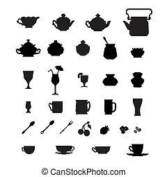 colección, de, tazas, teteras, y, otro, items.