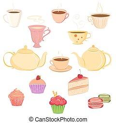 colección, de, teacups, teteras, y, dulces
