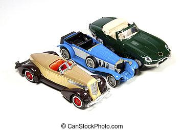 colección, de, tres, modelo del juguete, coches, blanco