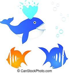 colección, de, tres, peces, con, burbujas
