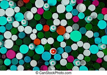 colección, de, vario, colorido, plástico, gorras de tornillo