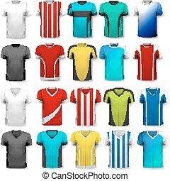 colección, de, vario, futbol, jerseys., el, camiseta, es,...