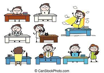 colección, de, vario, oficina, tabla, caricatura, profesional, hombre de negocios
