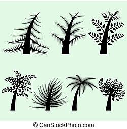colección, de, vector, árbol, siluetas