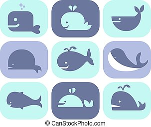 colección, de, vector, ballena, iconos