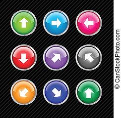 colección, de, vector, coloreado, botones, con, flechas, para, dirección diferente, use., fácil, a, corregir, cualesquiera, size., agua, tela, 2.0