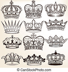 colección, de, vector, coronas reales
