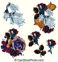 colección, de, vector, florals, en, realista, estilo
