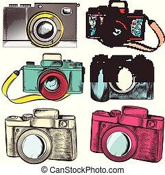 colección, de, vector, hipster, cameras.eps