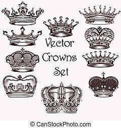 colección, de, vector, mano, dibujado, coronas, para, diseño