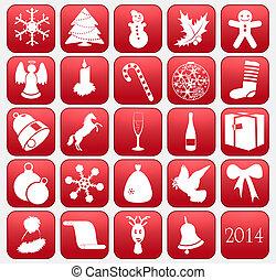 colección, de, vector, navidad, iconos
