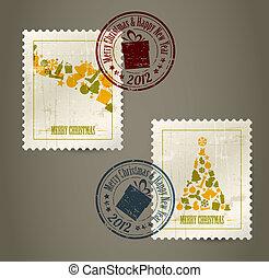 colección, de, vector, vendimia, sellos