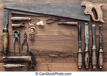 colección, de, vendimia, carpintería, herramientas