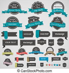 colección, de, vendimia, etiquetas, y, cintas
