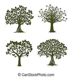colección, de, verde, árboles., vector, illustration.