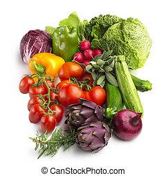 colección, de, verduras frescas, aislado, blanco, plano de...