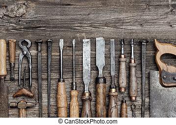 colección, de, viejo, carpintería, herramientas