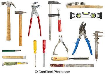 colección, de, viejo, herramientas, aislado, blanco