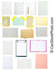 colección, de, viejo, note papel