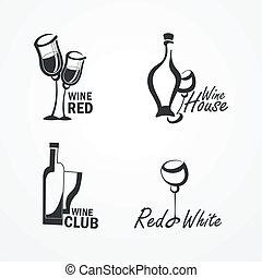 colección, de, vino, iconos