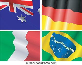 colección, de, waiving, banderas