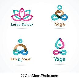 colección, de, yoga, iconos, elementos, y, símbolos