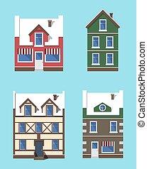 colección, edificios, vector, invierno, ilustración